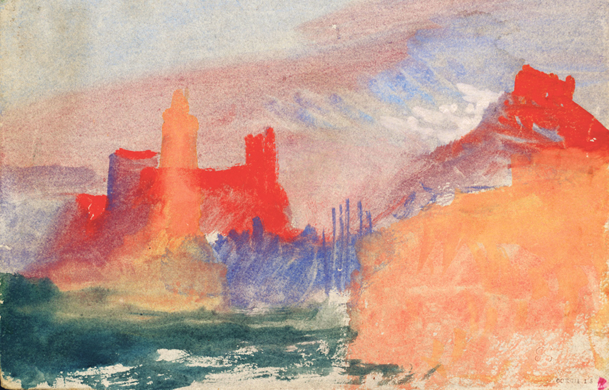 Les-Tours-vermillon-vers-1838-de-William-Turner-etude-a-Antibes.